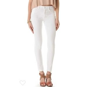 Mother High Waisted Looker White Skinny Jeans